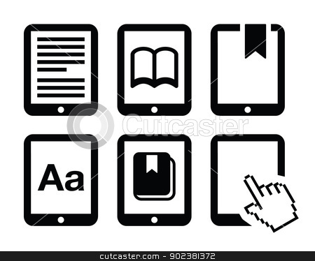 E-book reader, e-reader vector icons set stock vector clipart, Electrionic book black icons set isolated on white  by Agnieszka Murphy