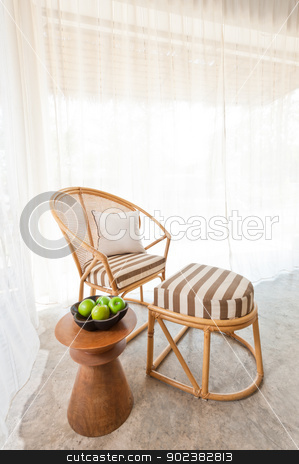 Bamboo rattan furniture stock photo, Beautiful bamboo rattan furniture in a summer setting by Ulrich Schade