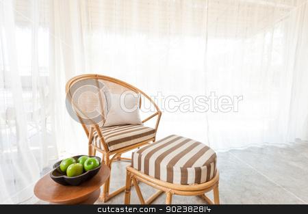 Bamboo rattan furniture stock photo, Beautiful bamboo rattan furniture in a summer setting by Ulrich Schade