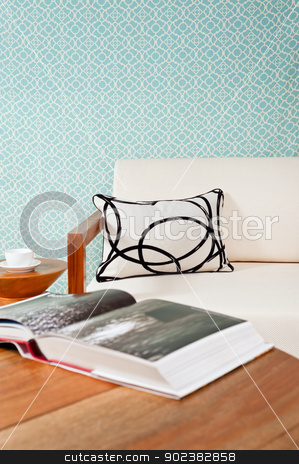 Bright white furniture in a living room  stock photo, Bright white furniture in a living room with turquoise blue wallpaper by Ulrich Schade