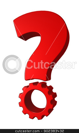gera wheel question mark stock photo, question mark with gear wheel point on white background - 3d illustration by J?