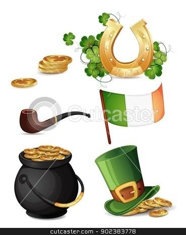 Saint Patrick's Day symbols  stock vector clipart, Saint Patrick's Day symbols isolated on white  by Loradora