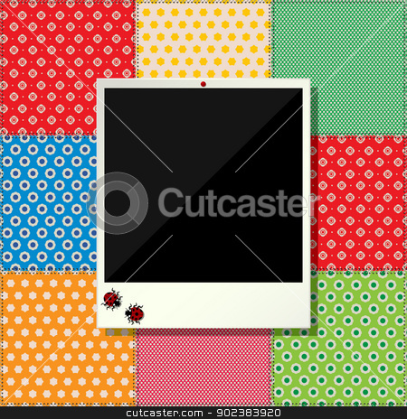 Digital scrapbooking photo frame stock vector clipart, Scrapbooking design with floral decoration and photo frame by Richard Laschon
