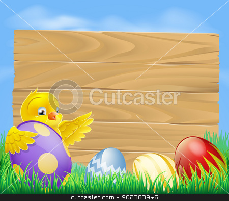 Easter chicken and chocolate painted eggs stock vector clipart, Yellow Easter chicken and chocolate painted Easter eggs with a blank wooden sign for your message by Christos Georghiou