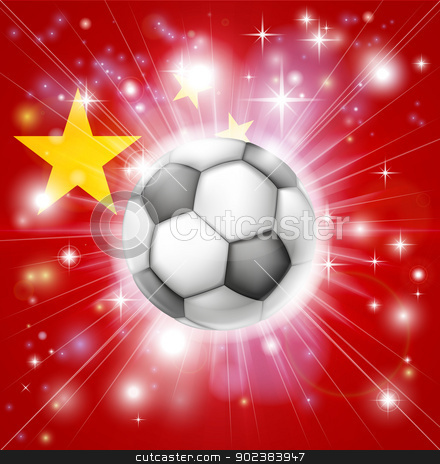 China soccer flag stock vector clipart, Flag of China soccer background with pyrotechnic or light burst and soccer football ball in the centre  by Christos Georghiou
