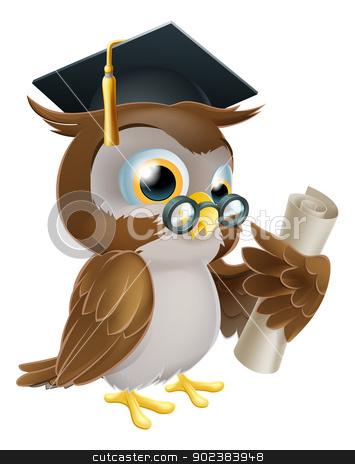 Owl with degree or qualification stock vector clipart, An illustration of a cute owl in glasses and graduate or convocation hat holding a rolled up scroll diploma, certificate or other qualification by Christos Georghiou