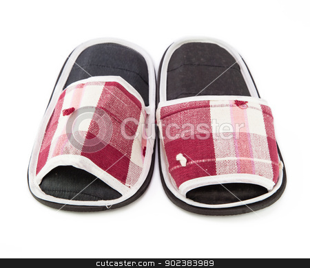 Slippers on white background stock photo, A pair of red slippers isolated on white background by pattarastock