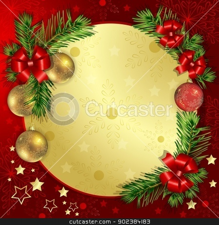 Christmas background with pine branch stock vector clipart, Christmas background with pine branch stars and Christmas by Loradora