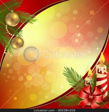 Christmas background  stock vector clipart, Beautiful Christmas background with burning candles by Loradora