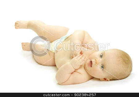 baby girl stock photo, New born baby girl isolated on white by Vitaliy Pakhnyushchyy