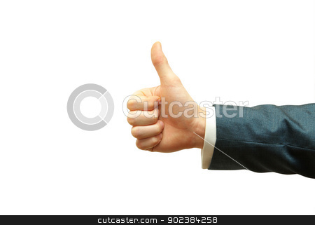 success hand stock photo, success hand sign isolated on white by Vitaliy Pakhnyushchyy