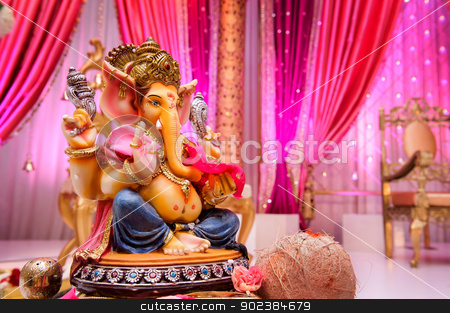 Image of Ganesh at Indian wedding stock photo, Image of Ganesh on Mandap at an Indian wedding by Greg Blomberg