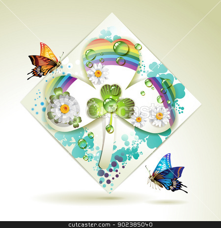 Clover over decorative shapes stock vector clipart, Clover over decorative shapes of paper and colored abstract background with butterflies, rainbow and drops of water   by Merlinul