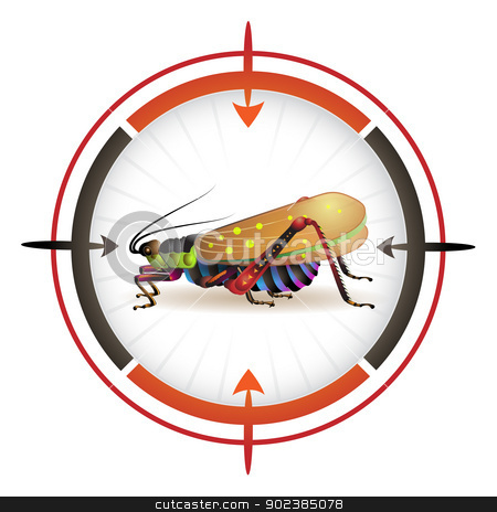 Target with grasshopper stock vector clipart, Sniper target with grasshopper by Merlinul