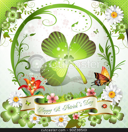 St. Patrick's Day card stock vector clipart, St. Patrick's Day card. Frame with clover, flowers and butterflies   by Merlinul