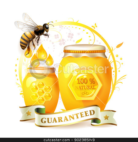 Glass jar with honey  stock vector clipart, Glass jar with honey and bee over floral background isolated on white by Merlinul