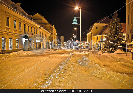 Town in deep snow on Christmas  stock photo, Town in deep snow on Christmas, Krizevci, Croatia by xbrchx