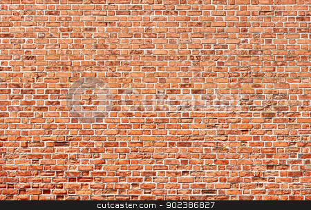 Red brick wall background stock photo, Background - brick red wall texture by Alexey Romanov
