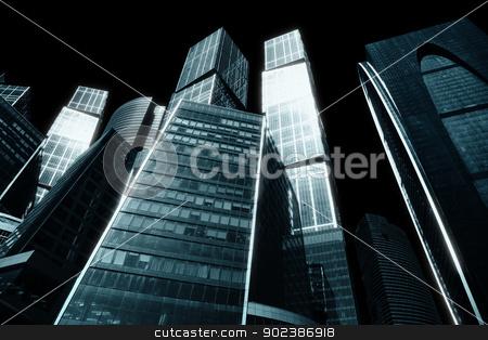 Gloomy city of skyscrapers stock photo, The gloomy city of skyscrapers - downtown by Alexey Romanov