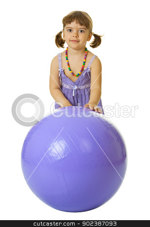 Little girl with a large rubber ball on white stock photo, Little girl with a large rubber ball isolated on white background by Alexey Romanov