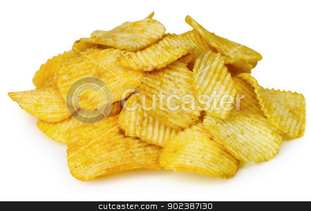 Potato chips stock photo, Potato chips isolated on white background by Alexey Romanov