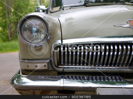 Ancient Russian car stock photo, Headlight of the ancient Russian car (GAZ-21) by Alexey Romanov