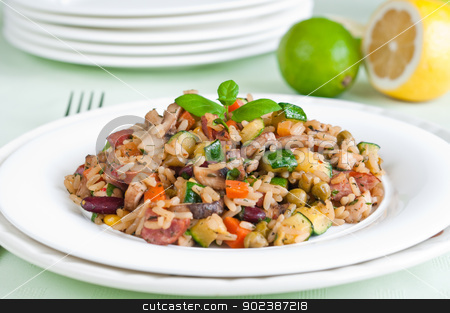 Risotto stock photo, Risotto with chicken and vegetables on white plate by Tiramisu Studio