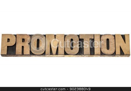 promotion word in wood type stock photo, promotion - isolated word in vintage letterpress wood type printing blocks by Marek Uliasz
