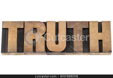 truth word in wood type stock photo, truth  - isolated word in vintage letterpress wood type printing blocks by Marek Uliasz