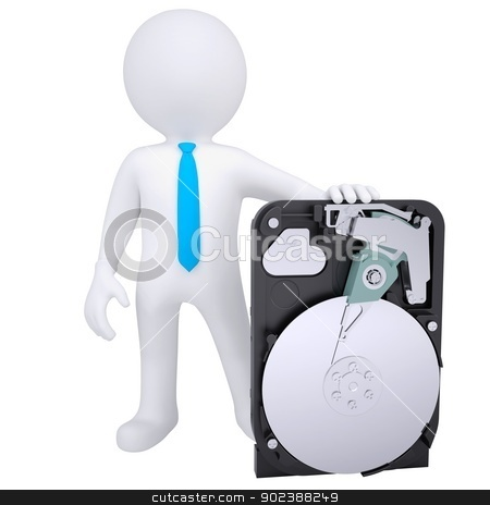 3d white man holding a hard drive stock photo, 3d white man holding a hard drive. Isolated render on a white background by cherezoff