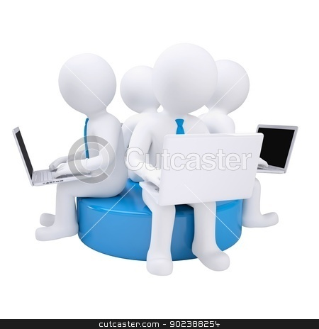 Four 3d man with laptop sitting on a blue disk stock photo, Four 3d man with laptop sitting on a blue disk. Isolated render on a white background by cherezoff