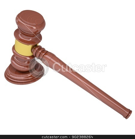 Wood gavel stock photo, Wood gavel. Isolated render on a white background by cherezoff