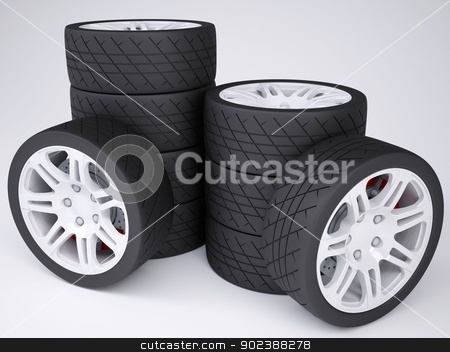 A stack of wheels with discs stock photo, A stack of wheels with discs. Isolated render on a white background by cherezoff