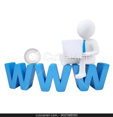 3d white man sitting on the labels WWW stock photo, 3d white man with a laptop sitting on the labels WWW. Isolated render on a white background by cherezoff
