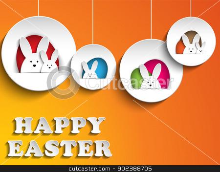 Happy Easter Rabbit Bunny on Orange Background stock vector clipart, Vector - Happy Easter Rabbit Bunny on Orange Background by Augusto Cabral Graphiste Rennes