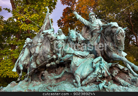 Union Calvary Horses Charging US Grant Statue Memorial Capitol H stock photo, Union Calvary and Horses Charging Ulysses US Grant Civil War Memorial Capitol Hill Washington DC.  Created by Henry Shrady and dedicated in 1922.  Commercial and Editorial Photography is permitted at this site.  by William Perry