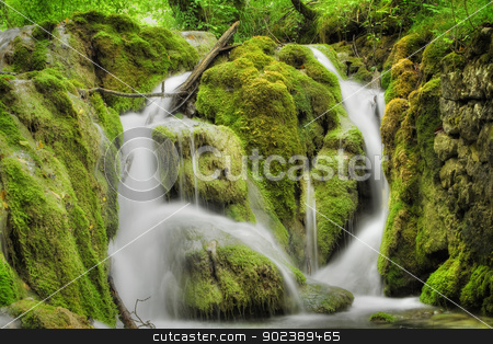 Waterfall stock photo, Beautiful waterfall at Plitvice Lakes National Park , UNESCO World Heritage Center. by GPimages