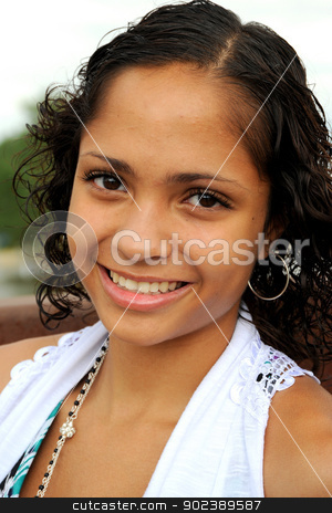African american female. stock photo, African american female expressions outside. by OSCAR Williams