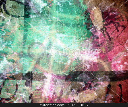 Grunge textured abstract digital background - collage stock photo, Grunge  textured abstract digital background - collage, with space for your text by GPimages