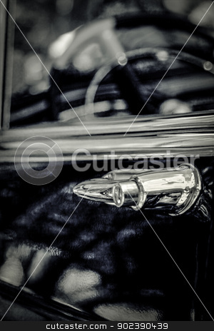 Classic car stock photo, Classic car detail , very shallow DOF black and white photo by GPimages