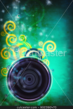 Abstract musical background - collage stock photo, Grunge abstract textured music collage with space for your tex by GPimages