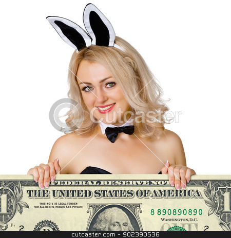 Beautiful young girl - rabbit with dollar stock photo, Beautiful young girl dressed as a rabbit with dollar isolated on white background by Alexey Romanov