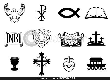 Christian icon set stock vector clipart, A set of Christian icons and symbols, including dove, Chi Ro, fish symbol, bible, INRI sign, trinity christogram, cross, communion cup, ark and more by Christos Georghiou