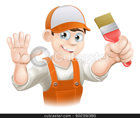 Painter or decorator man stock vector clipart, Illustration of a happy smiling cartoon painter or decorator holding a paintbrush and waving by Christos Georghiou