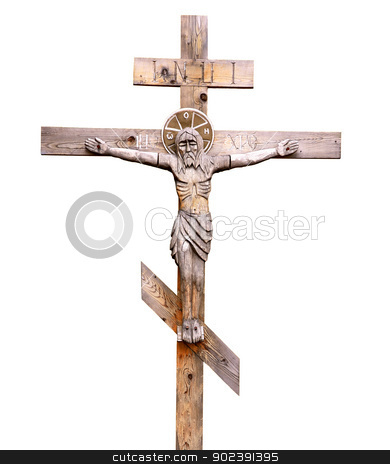 Crucifix stock photo, Old-time wooden orthodox crucifix on white background  by Alexey Romanov