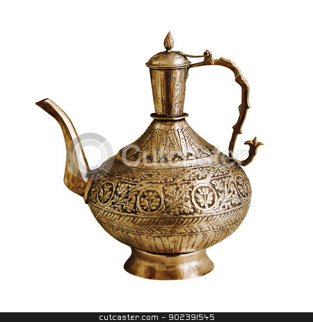 Vintage Indian teapot on a white background stock photo, The vintage Indian teapot isolated on a white background by Alexey Romanov