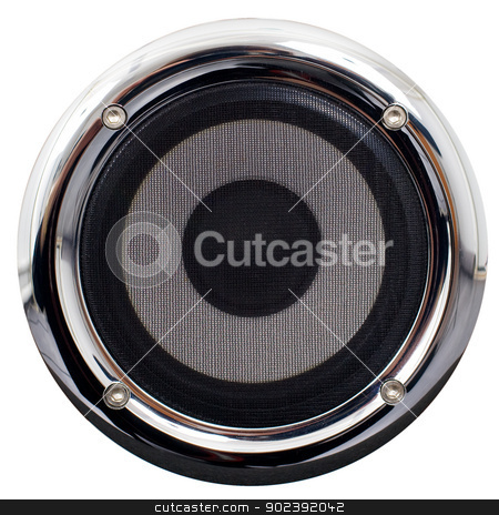 Speaker on a white background stock photo, Round speaker with the chromeplated framework on a white background by Alexey Romanov