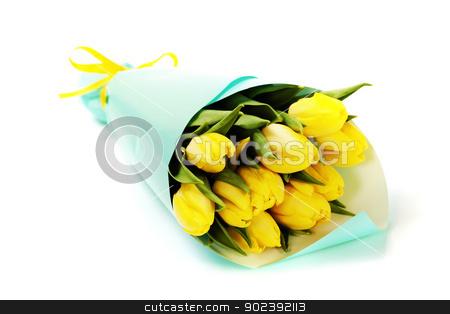 yellow tulips stock photo, bouquet of  fresh yellow tulips on white background by klenova