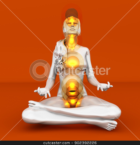 Chakra Meditation stock photo, A woman performing a full chakra meditation. 3D rendered illustration.  by Michael Osterrieder