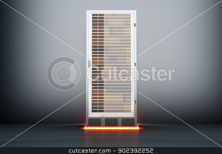 Metal Server room stock photo, A dark server room. 3D rendered Illustration. by Michael Osterrieder